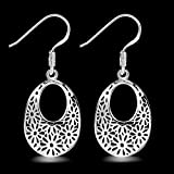 Ecloud Shop® Plateado hueco oval patrón cuelgan los pendientes de las mujeres de señora