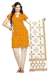 DARPAN TEXTILES Ethnicwear Women's Dress Material YELLOW Free Size