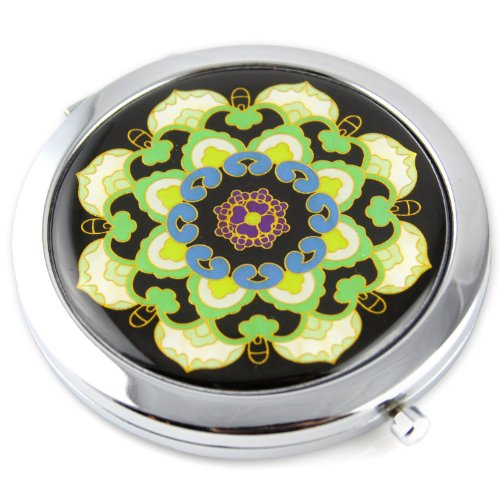Mandela Flower Gel Inlay - Steel Compact Pocket Mirror With Regular And Magnify Dual Sided Mirror - Green & Blue