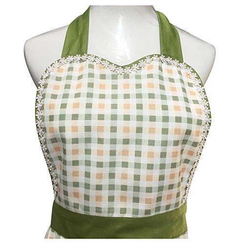 Cute Lovely unique design Women Girls Ladies Retro Apron with Chic Pocket for Cooking Kitchen, Green 1