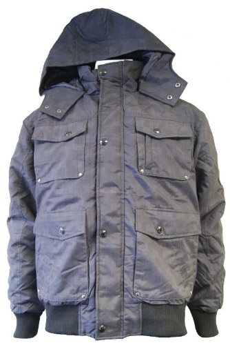 Men's Hooded Bomber Jacket With All Over Check Print Black small