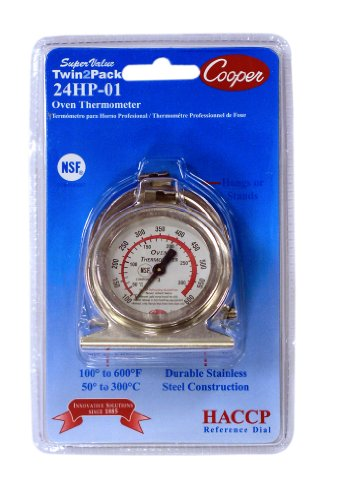 Cooper-Atkins 24HP-01-2 Stainless Steel Bi-Metal Super Value Twin2Pack 24HP Oven Thermometers, 100 to 600 degrees F Temperature Range (Pack of 2) (Cooper Atkins Oven compare prices)