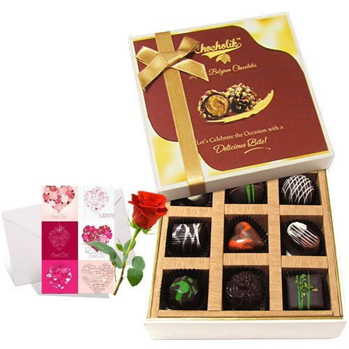 Valentine Chocholik's Luxury Chocolates - Lovable Moments With Dark Chocolate With Love Card And Rose