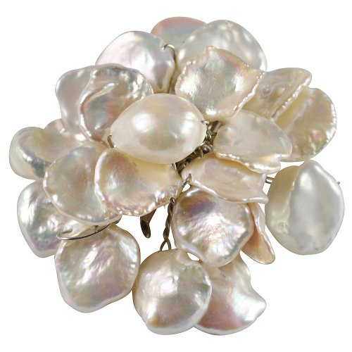Pearl Brooch Pin - Flower-Shaped White Reborn Pearl Brooch Pin (Br0075)