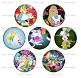 Set of 7 ALICE IN WONDERLAND Pinback Buttons 1.25