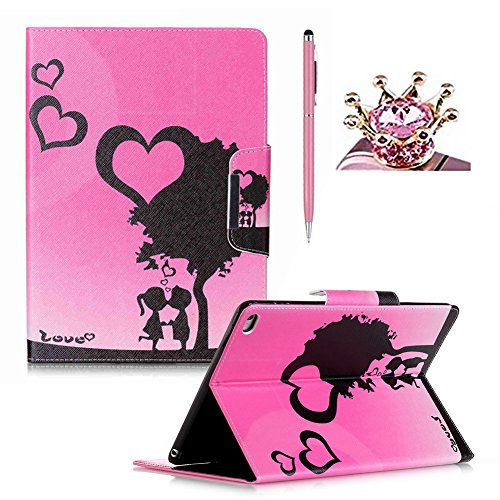 iPad Air 2(iPad 6) Case,Colorful Printed Flip Foilo Stand PU Leather Smart Case Cover with Metal Magnetic Close for iPad Air 2(iPad 6),SKYXD Pretty Fashion Love Heart Tree Pattern Book Style Full Protection Tablet Case Cover Skin with Built in Wallet Function and Card Slots for iPad Air 2(iPad 6) + Pink Stylus + Pink Crown Dust Plug