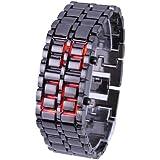 メタル バングル LED 腕時計 ブラック レディース LED レッド