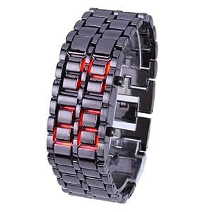 メタルバングルLED腕時計 ブラックレッド メンズ