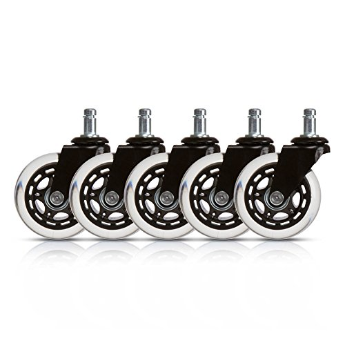 Office Chair Caster Replacement Wheels (Set of 5) Protects Floors, 3″ Rollerblade Style, Universal Fit.