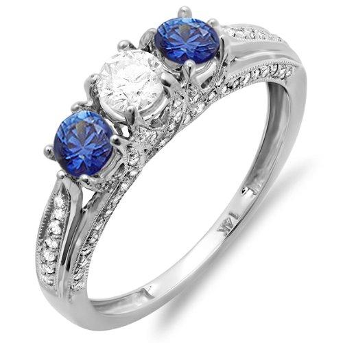 1.00 Carat (Ctw) 14K White Gold Round White Diamond And Blue Sapphire Ladies Vintage Bridal 3 Stone Engagement Ring (Size 6)