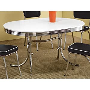 Coaster 50's Retro Nostalgic Style Oval Dining Table, Chrome Plated