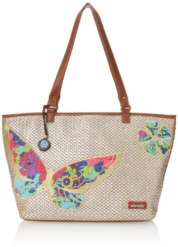 Sakroots Artist Circle Medium Carryall- Straw Shoulder Bag,Metallic Butterfly,One Size