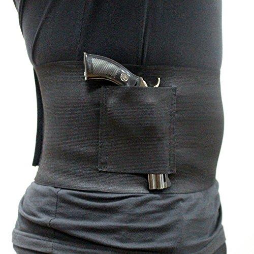 Depring Concealed Carry Side Draw Elastic Belly Band Pistol Gun Holster Tactical Undercover Adjustable Waist Slimming Belt Abdominal Binder Pistol