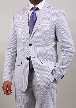 Classy Men's Seersucker White and Blue Stripe Two Button Suit (48 Regular)