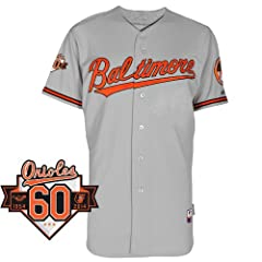 Baltimore Orioles Road Authentic Cool Base Jersey w  Commemorative 60th Anniversary... by Majestic