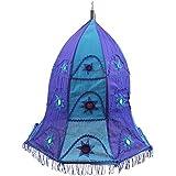 Rose Applique Cotton Vell Lantern (49 Cm X 37 Cm X 49 Cm, Green & Blue)