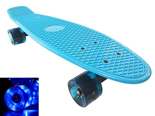 "Apex Skateboard Plastic Retro Blank Cruiser Led Flashing Wheels Penny Style 22"" - Blue Board / Blue Led Wheels"