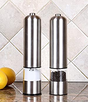 PER-HOME Stainless Steel Automatic Electric Pepper Mill and Salt Grinder(2 Set Packing)