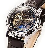 E-seven 腕時計 手巻き 機械式 スケルトン レザー tskl (ブラック×ゴールド)
