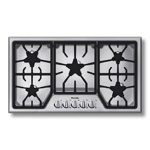 Thermador : SGS365FS 36 Gas Cooktop with 5 Star Burners – Stainless Steel w/ Blue Indicator Lights