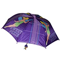 Tinkerbell Disney Fairies Girl's Purple Collapsible Umbrella with 3D Handle