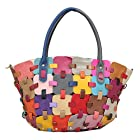 Aibag Women's Leather Colorful Block Patchwork Bag Tote Handbag