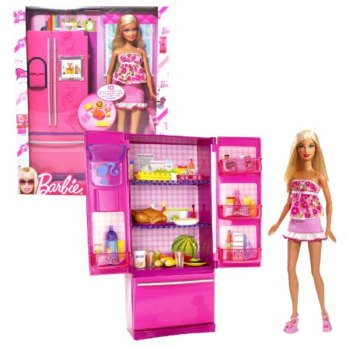 Mattel Year 2009 Barbie Fashionistas Series 12 Inch Doll Furniture Playset - Barbie With Refrigerator, Chicken On Plate, Carton Of Eggs, Pudding On Plate, Corns, 3 Bottle Containers And Hairbrush (P9138) front-1051725