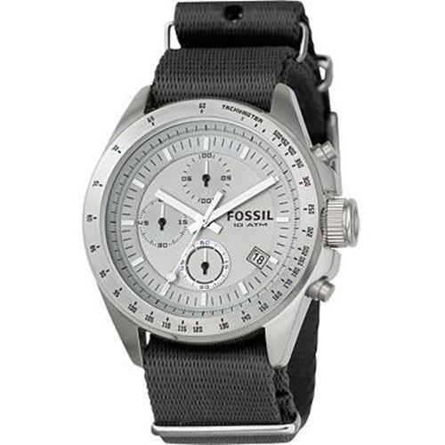 Fossil Men's CH2596 Black Nylon Strap Grey Analog Dial Chronograph Watch