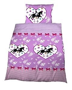 parure housse de couette lit enfant fille rose coeur 1 personne cheval chevaux. Black Bedroom Furniture Sets. Home Design Ideas