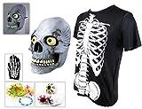 リアルスカルハーフフェイスマスクがいこつコスチュームハロウィンクリスマス仮装衣装(マスク・Tシャツセット)