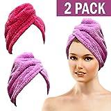 Bath Blossom Microfiber Hair Towel - Fast Drying Hair Wrap Turban Style ( 2 Pack )