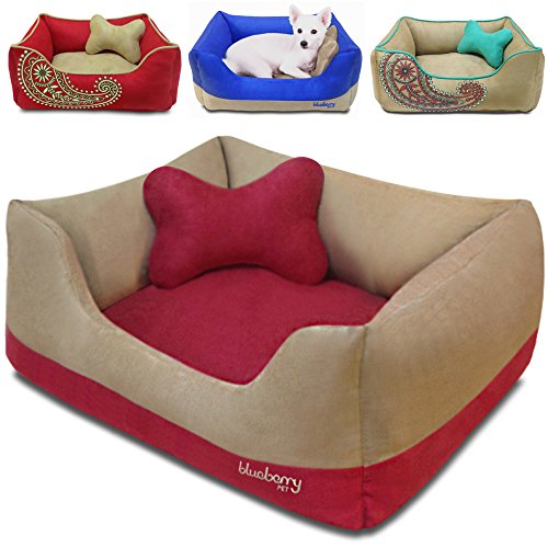 "Blueberry Pet Microsuede Pet Bed, Recyclable & Removable Stuffing w/YKK Zippers, Machine Washable, for Cats & Dogs, 25"" x 21"" x 10"", Beige and Red Color-block"