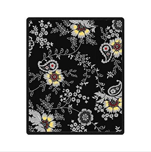 Black Background Batik Floral Fabric Custom Fleece Blanket 50 X 60 (Medium)