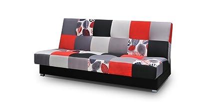 patchwork Schlafsofa Kippsofa Sofa mit Schlaffunktion Klappsofa Bettfunktion mit Bettkasten Couchgarnitur Couch Sofagarnitur Ausziehbar - MEXICO (Rot)
