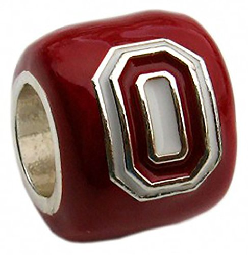 Ohio State Buckeyes Scarlet Block O Bead Charm - Fits Pandora & Others
