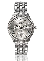 Geneva Platinum Studded Analog Silver Dial Womens Watch - GP-132
