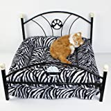 Pet Beds Dog/cat Bed Soft Warm Dog Kennelpet Beds Dog/cat Bed Soft Warm Dog Kennel Pet Cushion Upscale Metal Frame Zebra-stripe Mattress Bed (Zebra-stripe)