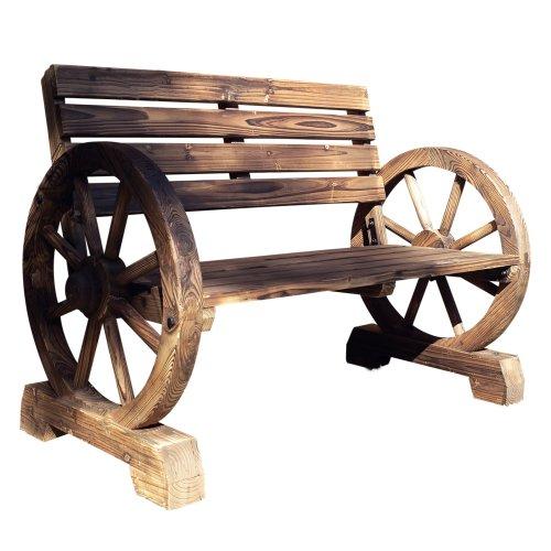 Rustic Garden Bench Wagon Wheel, Brown