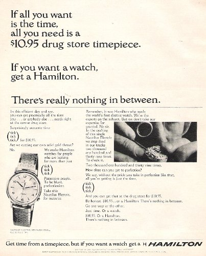 Hamilton Watch 1964 Original Print Advertisement