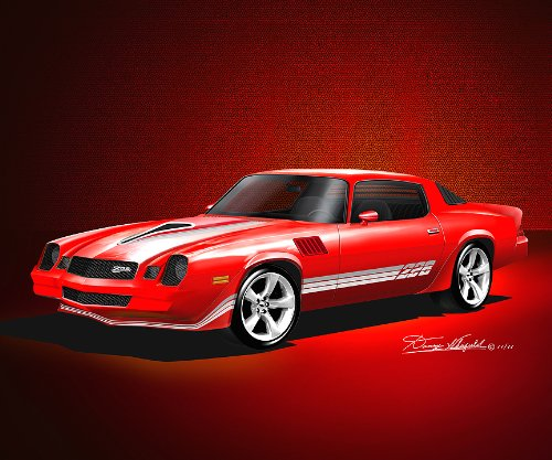1978-1979 CUSTOM CAMARO Z28 WITH OPTIONAL 2011 CAMARO RIMS - ART PRINT POSTER BY ARTIST DANNY WHITFIELD- size 20 X 24 (1978 Camaro Posters compare prices)