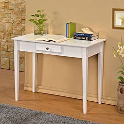William\'s Home Furnishing Bodai White 1-drawer Desk