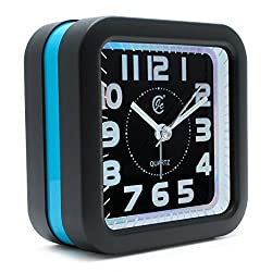 JCC Large Number Loud Melody Alarm Square Non Ticking Silent Quartz Analog Travel Bedside Desk Alarm Clock with Snooze and Night Light Function, Battery Operated, Simple to Use (Blue)