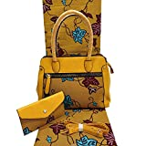 Lace Fabric African | African Wax Handbag Set African Prints Bag with Real Dutch Wax Fabric 6 Yards 100% Cotton for Women's Bag | by ATUSY (Color: 8)