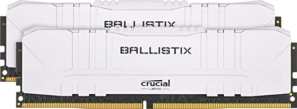 Crucial Ballistix 3600 MHz DDR4 DRAM Desktop Gaming Memory Kit 64GB (32GBx2) CL16 BL2K32G36C16U4W (White) (Color: WHITE, Tamaño: STANDARD: 64GB (32GBx2))