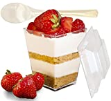 Elegant 30 Pack Clear Dessert Cups - 5 oz with Plastic Tasting Spoons and Secure Lids. 100% Certified BPA-Free - Mini Reusable & Disposable Square Sample Cup