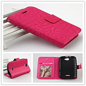 For BLU Cell Phone PERFECT FIT Luxury Leather Flip Wallet Case Cover Pocket Book with ID Showing Window (BLU Advance 4.0 A270A Hot Pink)