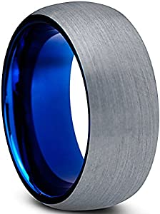 Tungsten Wedding Band Ring 8mm for Men Women Comfort Fit Blue Round Domed Brushed Lifetime Guarantee Size 9.5 from Charming Jewelers