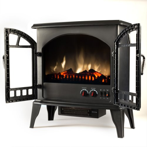 Jasper Free Standing Electric Fireplace Stove 22 Inch Black Portable Electric Vintage