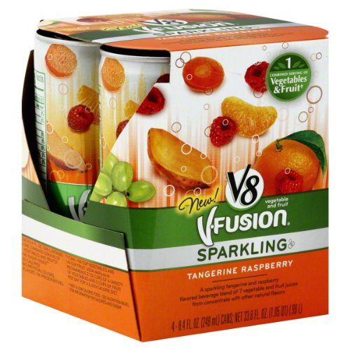 V8 V-fusion Vegetable and Fruit Juice, Sparkling, Tangerine Raspberry ,33.6 Fl. Oz, (Pack of 6)