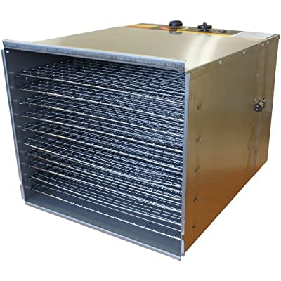 Cooks Club Stainless Steel Metal Food Dehydrator Variable Heat Levels with Analog Control Panel